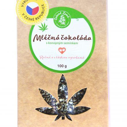 Zelená Země Mléčná čokoláda s konopným semínkem 100g