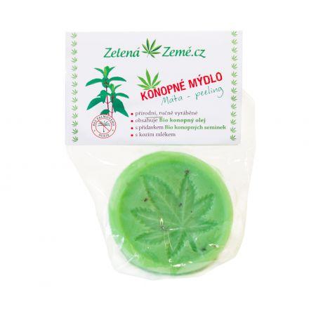 Konopné peelingové mydlo - mäta 80g, Zelená Země