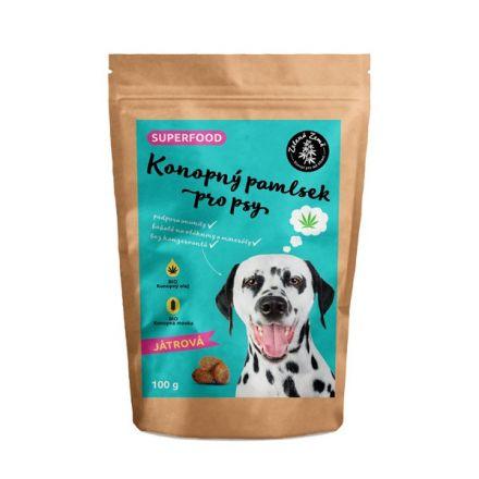 Zelená Země Konopný maškrta pre psov pečeňová príchuť 100 g